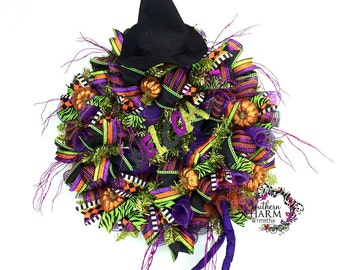 Deco Mesh Halloween Wreath, Witch Wreath, Witch Door Wreath, Halloween Door Decor, Witch Hat Wreath, Witch Door Decor, Halloween Wreathes