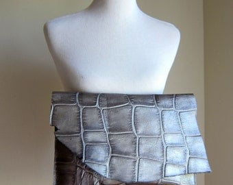 LEATHER Large Oversized Huge Clutch Bag Purse Shoulder Strap Cross Body - Raw, Rustic with Raw Edge - Silver Metallic Decorative Leather
