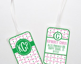 Luggage Tags Personalized - Monogrammed Bag Tag- Anchor