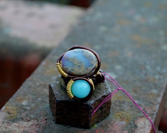 Turquoise Ring, Copper Wire Ring, Opal Ring, Wrapped Ring, Semi Precious, Wearable Art Ring, Hand Crafted, Natural Stones, Healing Jewelry,