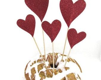 Glittered Hearts Cake Topper Wedding Valentines Day Birthday Cake Topper Bridal Shower