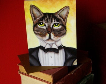 Jay Gatsby Cat 5x7 Blank Greeting Card, Grey Tabby in Tuxedo Suit