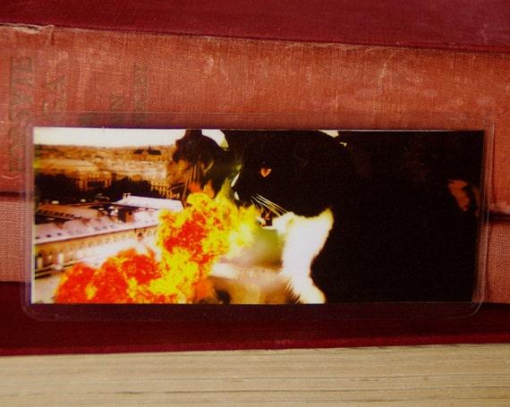 Dragon Cat Bookmark, Tuxedo Cat Breathing Fire Over Paris Paper Bookmark