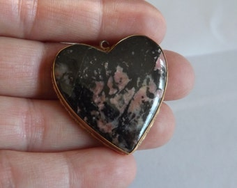 Pink and Black Rhodonite Heart Pendant in Gold Filled setting.