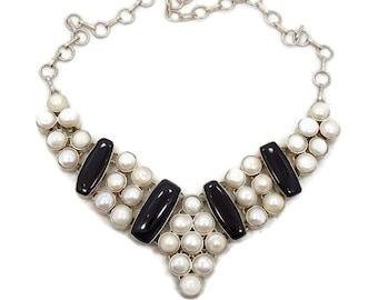 Onyx Pearl Necklace, Sterling Silver, Vintage Necklace, Statement, Big Bib, Black White, Boho Statement, Elegant, Evening, Unique
