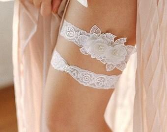 Lace wedding garter set, pearl lace garter bet, pearl ivory garter set, toss garter - style #503