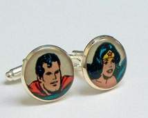 Cuff links from Superman and Wonder Woman vintage comic book cover RECYCLED into silver plated cufflinks