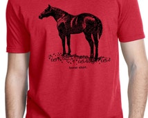 HORSE SHIRT - horse tshirt - mens tshirt - cowboy shirt - rodeo shirt - western shirt - western tshirt for men - country music - crew neck