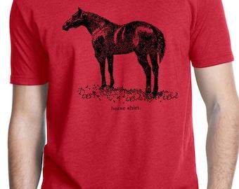 HORSE SHIRT - horse tshirt - mens tshirt - cowboy shirt - rodeo shirt - western shirt - western tshirt for men - country music - crew neck