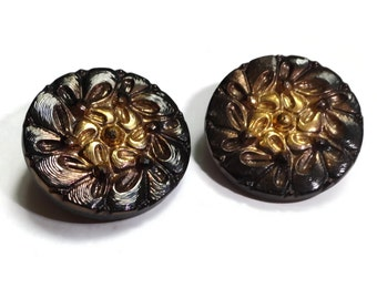 Flower Glass Vintage Buttons - 2 Antique 1940s Black and Gold 7/8 inch 22mm for Jewelry Beads Sewing Knitting