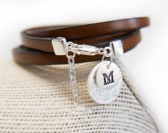 Personalized Charm Bracelet Initial Sterling Silver Charm Stamped Jewelry Stamped Charm Bracelet Monogram Leather Wrap Multi Wrap Strap Cuff