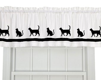 Cat Kitty Kitten Window Valance Curtain - Your Choice of Colors