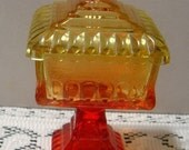 Jeannette Amberina Candy dish Compote lidded footed