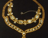 Topaz and Citrine rhinestone Necklace and Bracelet Demi