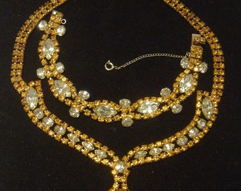 Topaz and Citrine rhinestone Necklace and Bracelet Demi