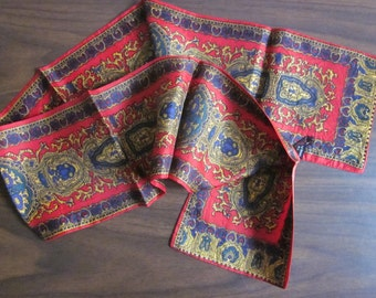 Ornate Red and Blue neck or head scarf