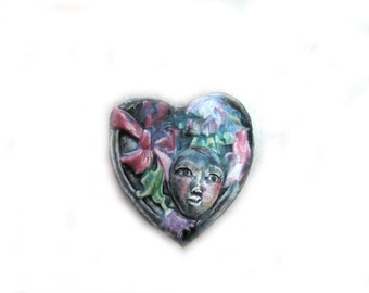 Focal Face Bead, Ceramic Handmade Heart,  Black and Cream Bead,6 #5