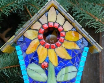 Birdhouse Stained Glass Mosaic Sunflower