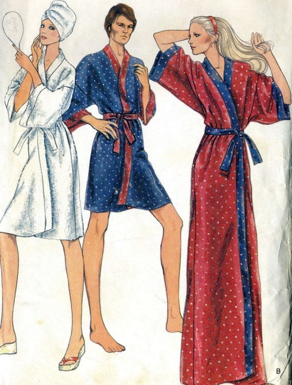Vintage 70s Vogue 8888 Misses Wrap Robe Sewing Pattern Size Large 16-18 Bust 38-40