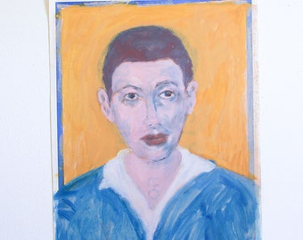 Vintage Portrait Painting of a Man / Outsider Art / 15 x 19 / Acrylic on Found Paper