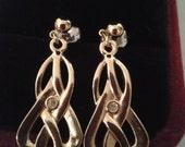 Earrings - Gold Colored Pierced Celtic Style Earrings with Clear Rhinestone