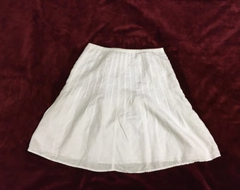 White Linen Skirt - Pleated Tennis Style