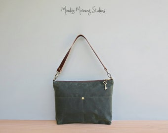 Forest Green Waxed Canvas Handbag with Custom Length Leather Strap, Boho Shoulder Bag, Plus Size Crossbody Bag, Everyday Purse, Made in USA