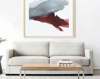 """Neutral Abstract Watercolor Print of Painting, LIMITED EDITION PRINT, giclee, blue, red, turquoise, grey  """"Mountain Root"""" contemporary art"""