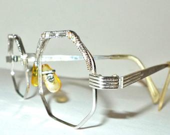 Lucy in the Sky with Diamonds Hippie Rhinestone Eyeglass Octagon Mod Elton John Glasses 1/20 12K GF Sunglass Hippy Glam Rock Metal Frame