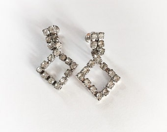Vintage Dangle Rhinestone Earrings Screw Back