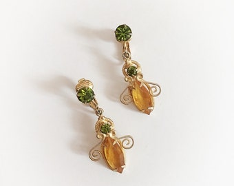 Vintage Rhinestone Dangle Earrings Clip On Green and Yellow