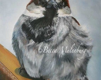 bird painting sparrow Original oil house sparrow wildlife nature fine art