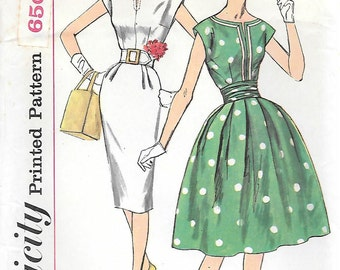 Simplicity 3472 UNCUT 1960s Dress with Two Skirts and Cummerbund Vintage Sewing Pattern Sizes 10, 12, 14 Wiggle Dress