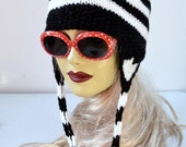 Knitted Black and White Striped Kitty Hat with Cat Ears
