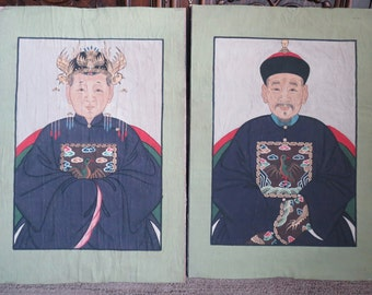 Pair Vintage Chinese Watercolor On Silk Emperor And Empress 27 In Tall Unsigned Asian Art Painting