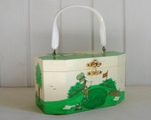 Vintage Golf Scenes Holly Hobbie Wooden Box Purse with Lucite Handle