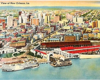 Vintage New Orleans Postcard - Aerial View of New Orleans (Unused)