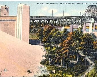 Vintage Cape Cod Postcard - An Unusal View of the Bourne Bridge (Unused)
