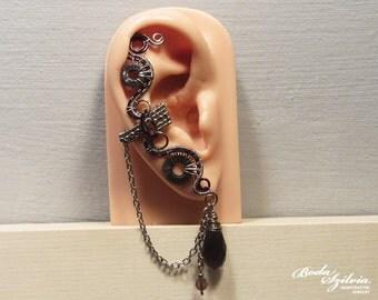 silver and purple STEAMPUNK EAR CUFF - wire wrapped ear cuff, steampunk ear wrap, steampunk jewelry, no piercing ear cuff, ooak jewelry