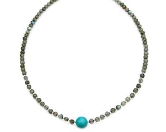 Labradorite Sparkle Turquoise Bead Necklace Petite Everyday Minimal Minimalist Style Silver Jewelry Boho Chic Choker Necklace by Mei Faith