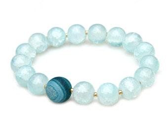 Blue Agate Bracelet Crackled Sky Blue Beads Clean Aqua Ocean Beach Jewelry Gold Accents Feminine Flare Boho Chic Style by Mei Faith