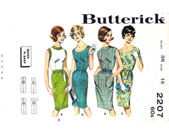 1960s Sheath Dress Pattern Butterick 2207 Sleeveless Wiggle Dress Bust 36