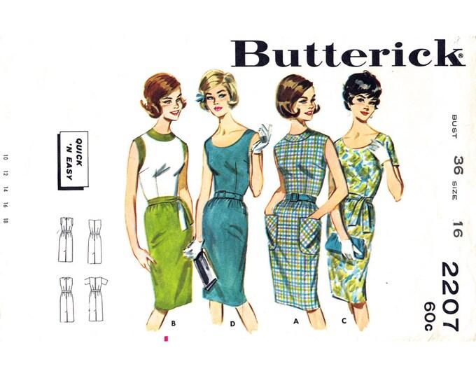 1960s Sheath Dress Pattern Butterick 2207 Sleeveless Wiggle Dress Bust 36