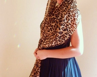 Leopard chiffon scarf, beaded scarf, fashion accessories