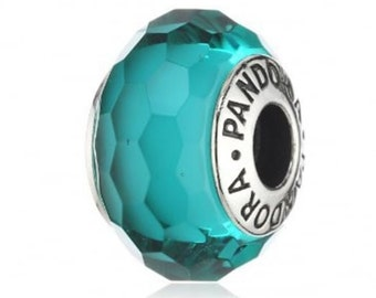 New Authentic Pandora Faceted Fascinating TEAL charm bead # 791606 wITH  Pocket box and purchase receipt