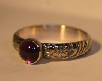 Custom Sterling Silver Ring with 6mm Cabochon - 26 Gemstone Choices - Made to Order