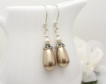 Champagne pearl earrings, sterling silver, long pearl drop earrings in light brown and white
