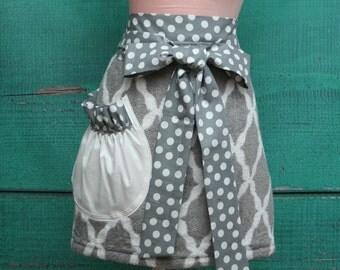 Shower Hostess Gift - Towel Waist Apron -  Half Apron - Grey & White Garden Trellis