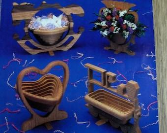 vintage 1992 COLLAPSIBLE BASKET patterns over 100 designs for bandsaw or scrollsaw Rick and Karen Longabaugh