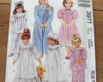vintage 80s McCAlls pattern 3977 childrens sleepwear girls nightgown robe pajamas bonnet sz Large 12-14 uncut